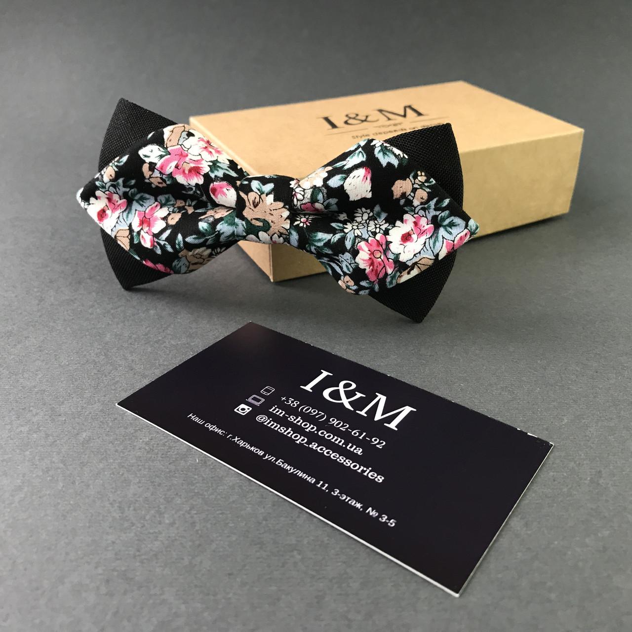 Галстук-бабочка I&M Craft с острыми концами черный с цветами (100120N)
