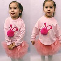 """Детский трикотажный свитшот для девочки """"Фламинго"""" с аппликацией и длинным рукавом"""
