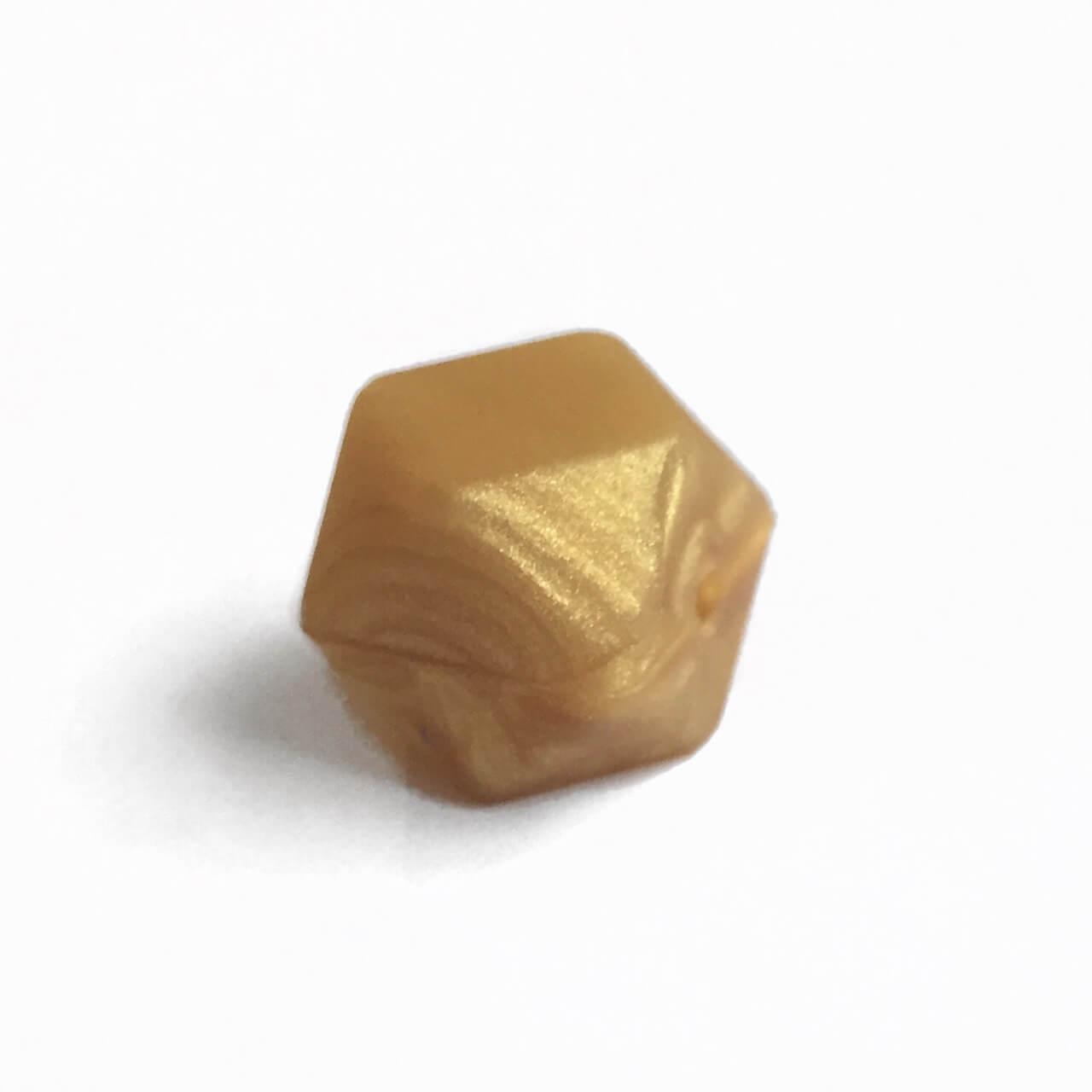 Гексагон 17мм (золото перламутр), силиконовые бусины