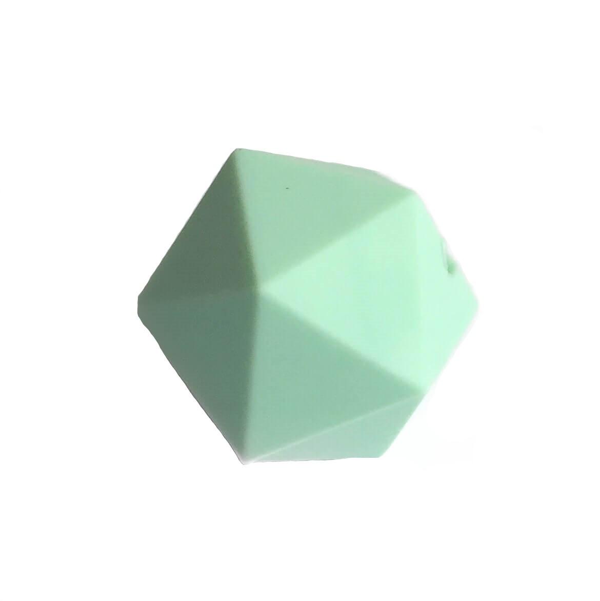 Икосаэдр 23мм (мята) силиконовая бусина