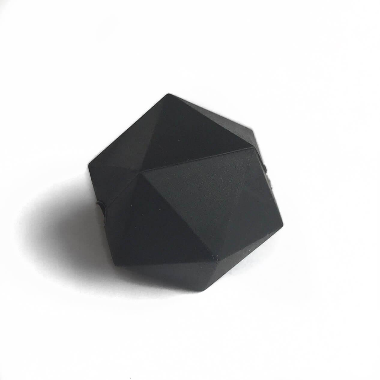Икосаэдр 23мм (черный) силиконовая бусина