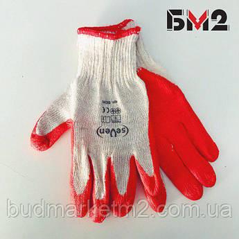 Перчатки  белые с красным латексным покрытием ТМ Seven