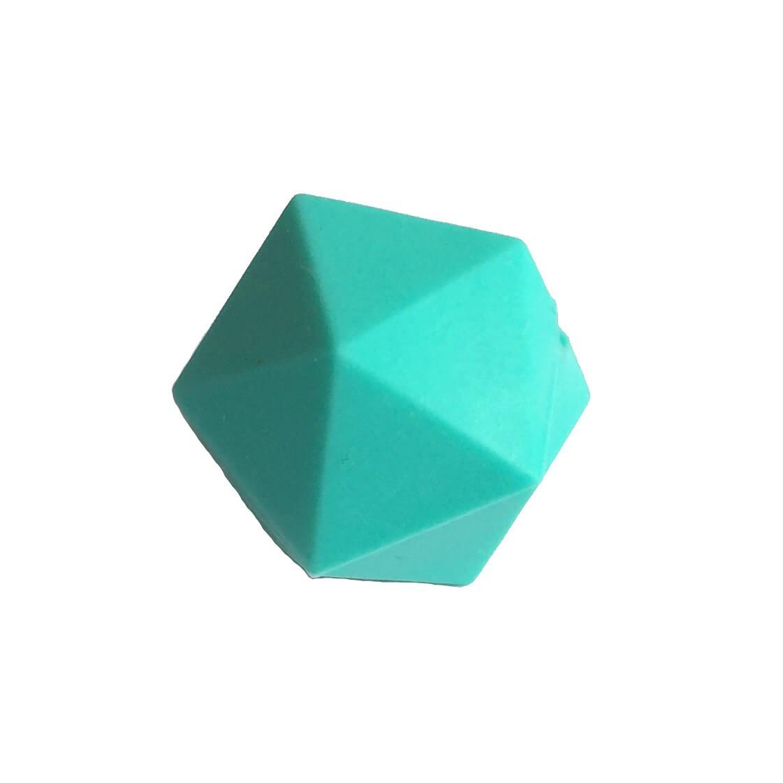 Икосаэдр 23мм  (бирюза) силиконовая бусина