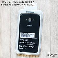Оригинальный чехол накладка Silicone Cover для Samsung Galaxy J7 (J700) (черный, микрофибра)