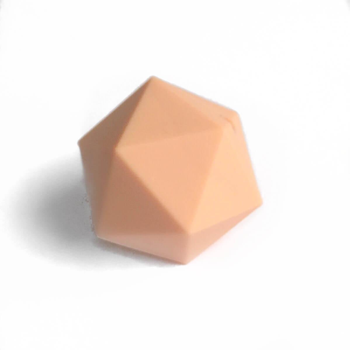 Икосаэдр 23мм (персик) силиконовая бусина