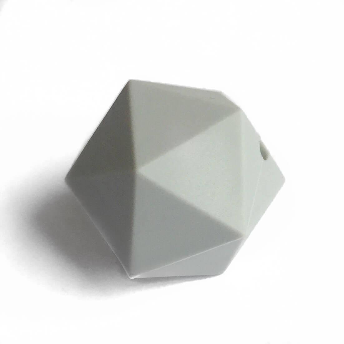 Икосаэдр 23мм (светло серый) силиконовая бусина