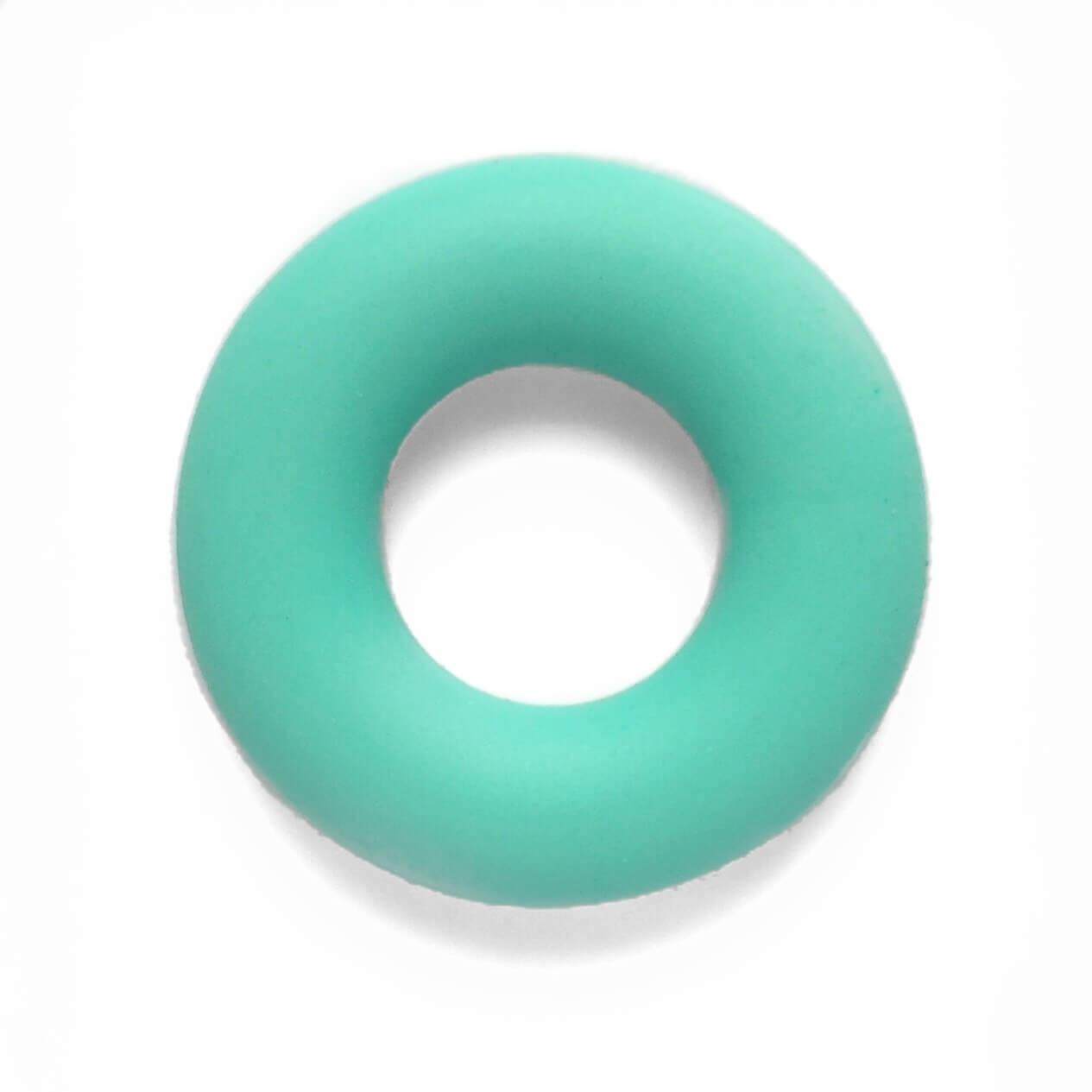 Колечко бублик (бирюза) 43мм, бусины из пищевого силикона
