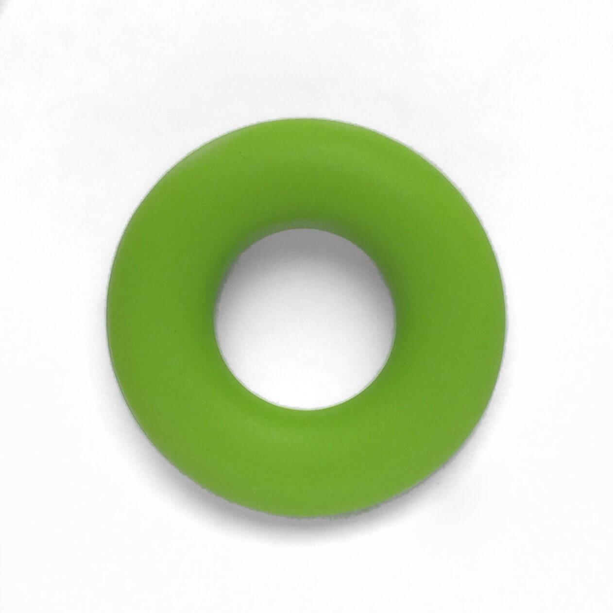 Колечко бублик (зеленый) 43мм, бусины из пищевого силикона