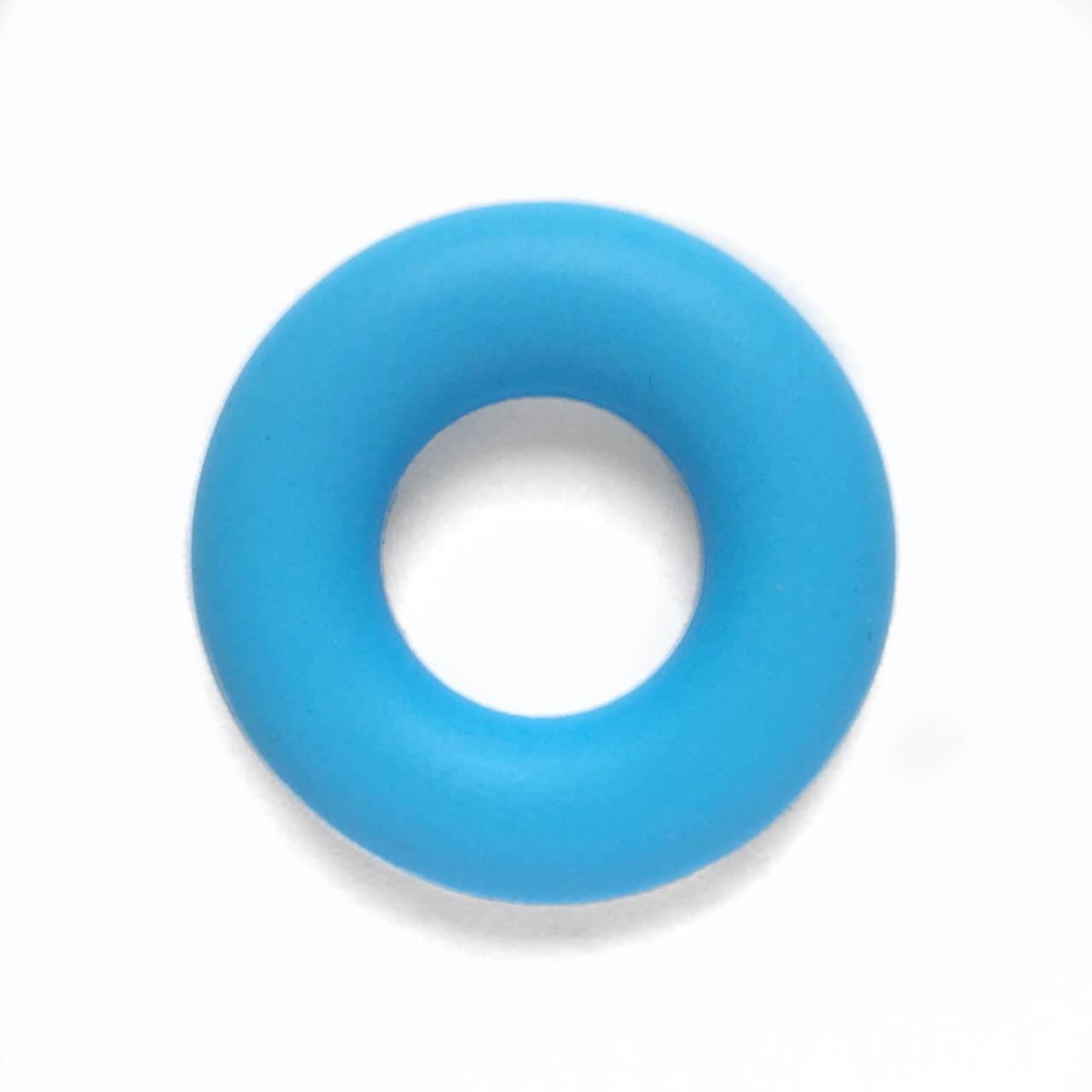 Колечко бублик (голубой) 43мм, бусины из пищевого силикона