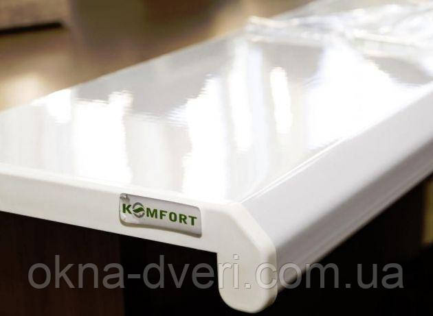 Подоконник Данке Комфорт белый глянцевый глубиной 450 мм