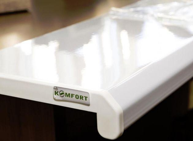 Подоконник Данке Комфорт белый глянцевый глубиной 700 мм