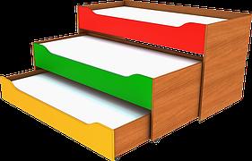 Кровать раздвижная трёхместная. Мебель для школы. Мебель для детского сада
