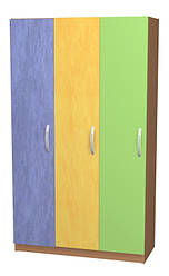 Шафка для одягу (3 особи). Меблі для школи. Меблі для дитячого садка