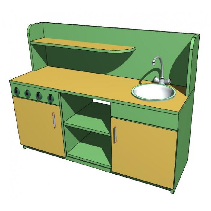 """Стенка игровая 09 """"Кухня"""" ( без миски, смесителя, 4х регуляторов газа). Мебель для школы. Мебель для детского"""