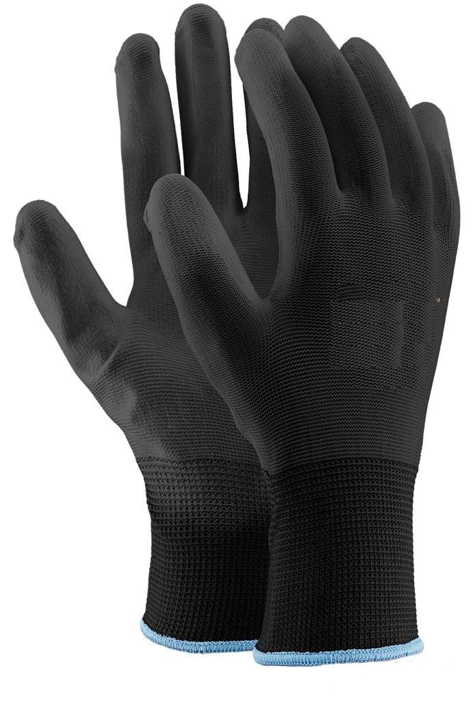 Перчатки с полиуретановыи покрытием черные рабочие Польша REKPU/HZ015