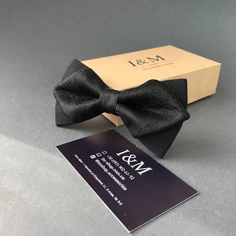 Галстук-бабочка I&M Craft с острыми концами черный  (100131N), фото 2