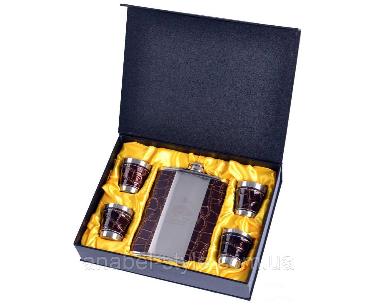 """Подарочный набор с флягой """"Jim Beam"""" (Кожа) №GT-17-4 Код 121986"""