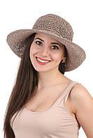 Шляпа женская плетеная серая
