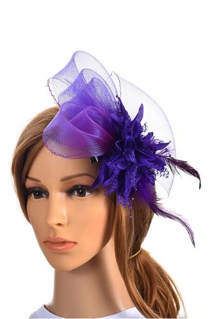 Женская дизайнерская шляпка фиолетовая А-1098