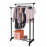 Напольная большая вешалка-стойка Double Pole Clothersrack двойная телескопическая для одежды (30 кг)