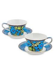 """Чайный набор на 2 персоны """"Цветочный джаз"""" (Jazz Floreale Pavone) из костяного фарфора JK-136"""