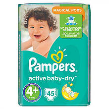 Подгузники Pampers Active Baby-Dry Размер 4+ (Maxi+) 10-15 кг, 45шт