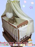 Постельное бельё в детскую кроватку Baby жакард цветочки 8 эл. В подарок - подвеска сердечко, фото 1