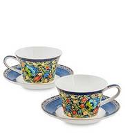 """Чайный набор на 2 персоны """"Цветочный джаз"""" (Jazz Floreale Pavone) из костяного фарфора JK-137"""