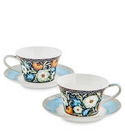 """Чайный набор на 2 персоны """"Цветочный джаз"""" (Jazz Floreale Pavone) из костяного фарфора JK-138"""