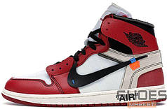 Мужские кроссовки Nike Air Jordan 1 X Off-white White/Red aa3834 101, Найк Аир Джордан 1
