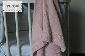 """Вязанный плед розовый-меланж 100% хлопок 80/90 """"Звёздочка"""" см №58-22"""
