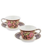 """Чайный набор на 2 персоны """"Цветочный джаз"""" (Jazz Floreale Pavone) из костяного фарфора JK-139"""