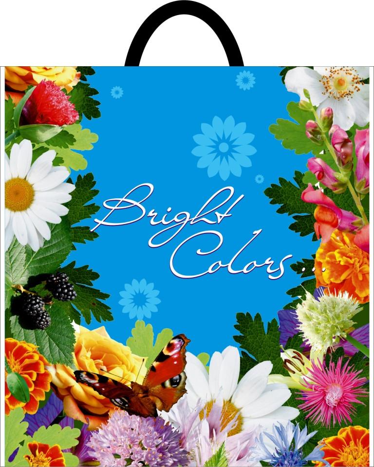 Пакет с петлевой 40 мкм ручкой 420*450 полевые цветы цена от производителя