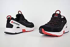 Мужские замшевые кроссовки Reebok one sawcut gtx черные с красным топ реплика, фото 2