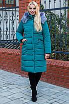 Зимнее Теплое длинное пальто пуховик размеры 44 до 58 с капюшоном, фото 3