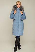 Зимнее Теплое длинное пальто пуховик размеры 44 до 58 с капюшоном, фото 2