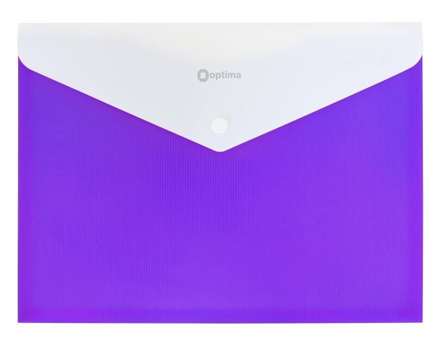 Папка конверт непрозрачная А4 на кнопке Оптима, 2 отделения, 180 мкм фактура ПОЛОСА фиолетовая O31315-12