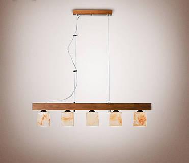 Люстра деревянная на тросах для кафе, кухни 235