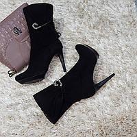 Ботинки женские весна осень из натуральной кожи на каблуке черные
