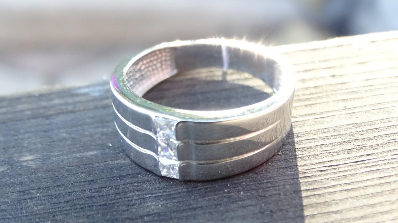 Тройное серебряное кольцо с фианитами