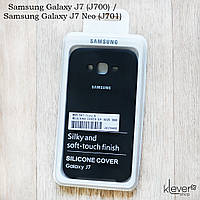Оригинальный чехол накладка Silicone Cover для Samsung Galaxy J7 Neo (j701) (черный, микрофибра)
