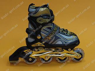 Раздвижные роликовые коньки Profi Roller А-3021 черно-золотые  р-р 31-34