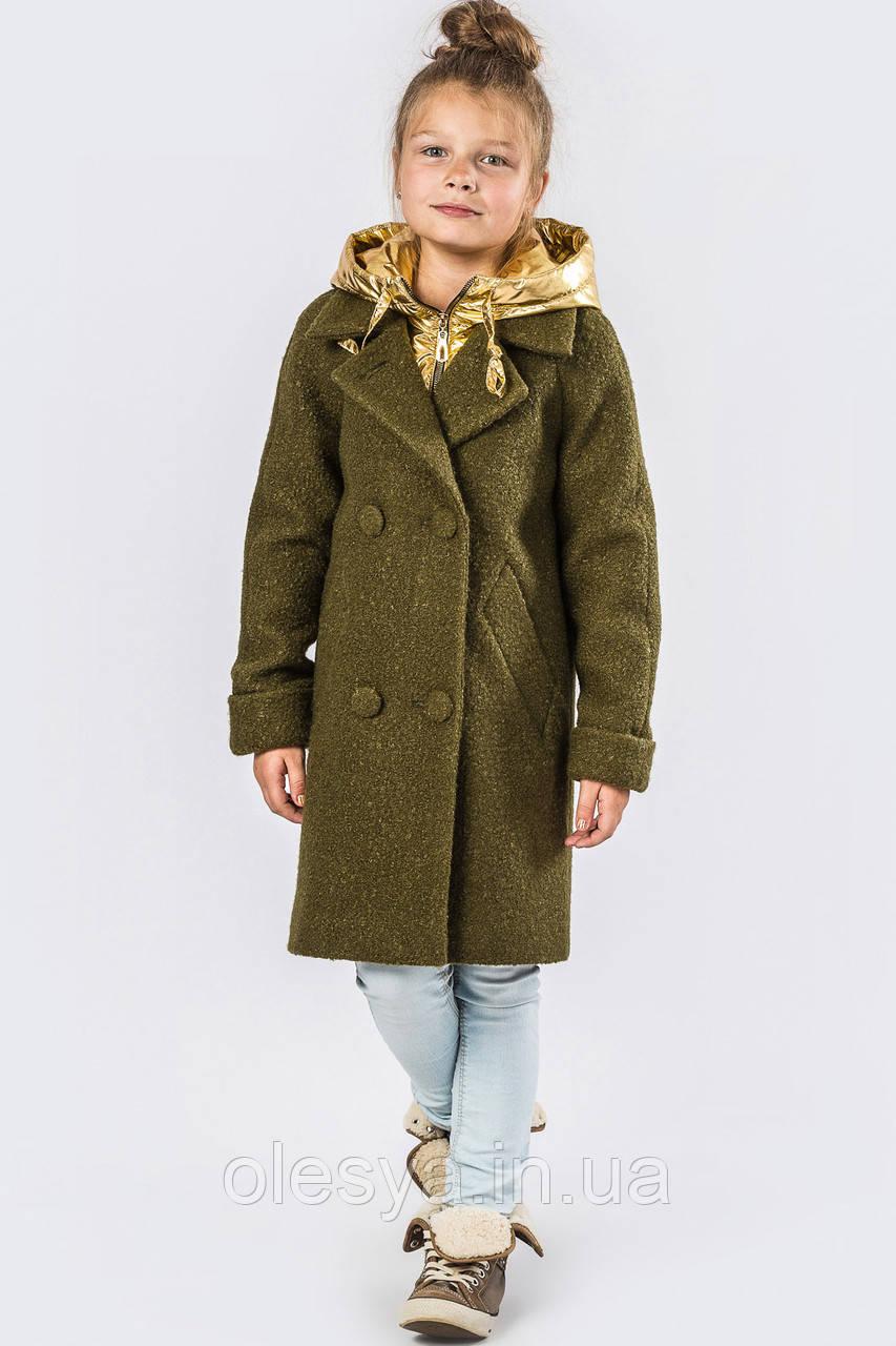 Пальто демисезонное для девочки бренда X-Woyz DT-8275-1, Цвет Хаки-золото Размеры 32 34