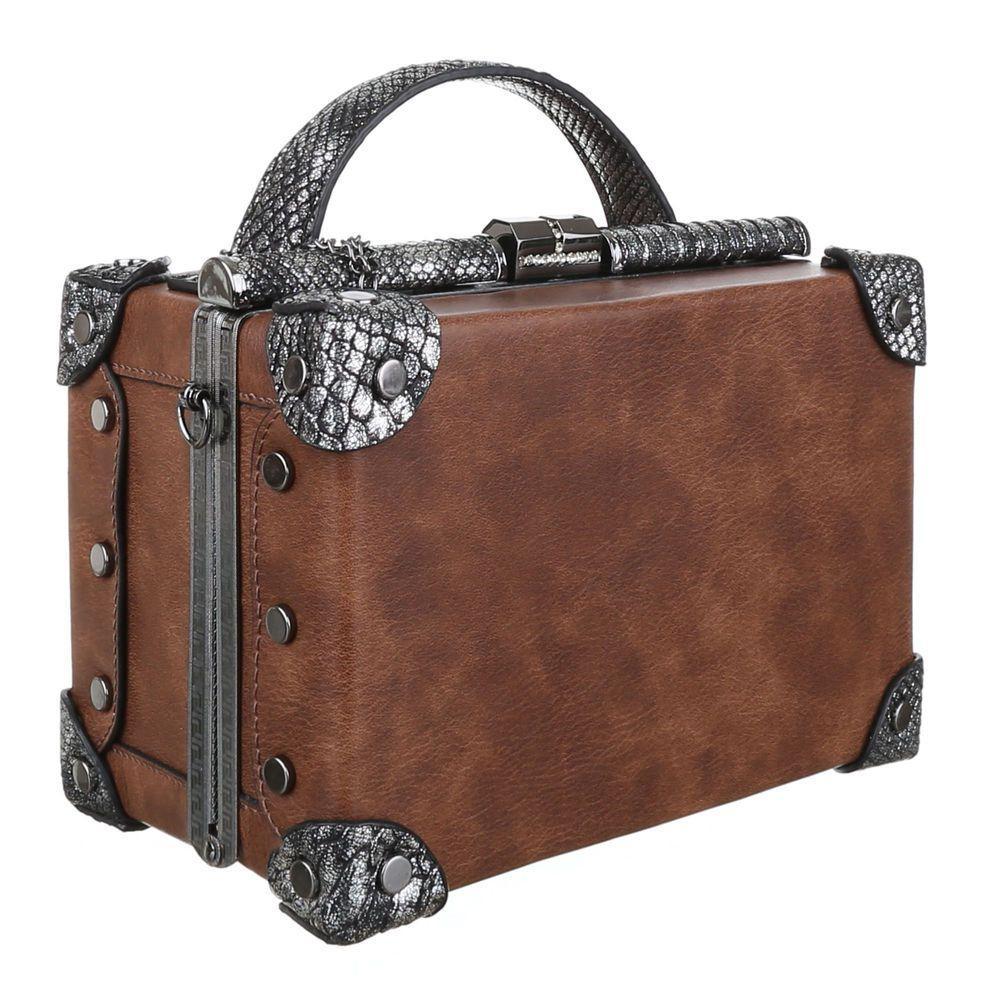 Женская квадратная сумка бокс с кожей рептилии Dudlin (Италия) Коричневый