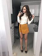Женские шорты-юбка из костюмки
