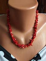 Ожерелье из натурального камня, красный коралл крошка.