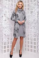 Серое платье с цветочным принтом на откидной полочке 2891