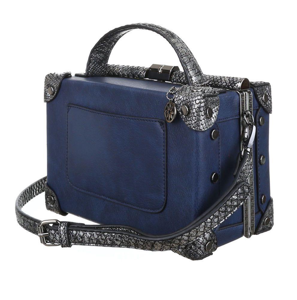 Женская квадратная сумка box с кожей рептилии Dudlin (Италия) Синий
