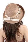 Соломенная шляпа с оригинальным украшением коричневая, фото 2