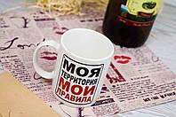 """Прикольная офисная чашка """"Моя территория......"""" 350 мл"""